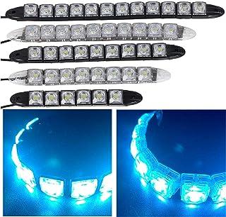 12V LED ライトブルー発光 デイライト スポットライト 昼間走行灯 防水 汎用 2本セット