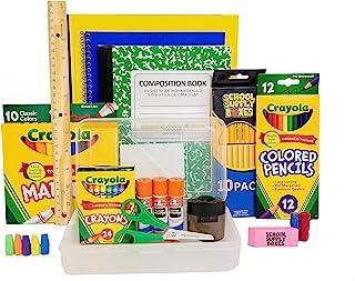 کلاس های K-5 - جعبه منبع مدرسه برگشت به مواد ضروری مدرسه - 32 قطعه - شامل نشانگر ، مداد رنگی ، مداد ، قیچی ، پوشه ها ، چسب چوب ، نوت بوک و نوت بوک ترکیب