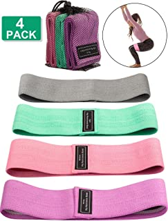 4 Pieces Loop Resistance Bands for Leg and Butt Exercise Bands Non Slip Elastic Workout Bands Fitness Sports Bands Women S...