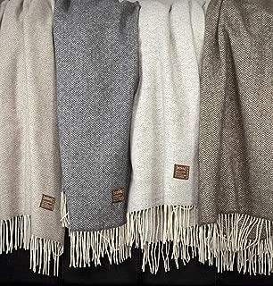 Eikei Wool Throw Blanket Geo Diamond Pattern Oversized Couch Throw Blanket Fringe Trim Soft Merino Woolen Afghan Minimalist Style Lightweight Machine Washable (Beige, 55Wx78L)