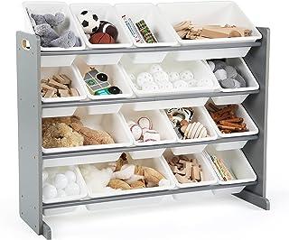 Tot Tutors Supersized Wood Toy Storage Organizer, Extra Large, Grey/White