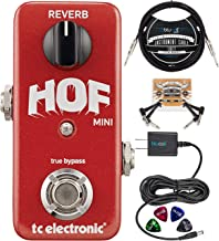 TC Electronic Hall of Fame Mini Reverb Pedal with TonePrint Bundle with Blucoil 10-FT Straight Instrument Cable (1/4), Slim 9V 670ma Power Supply AC Adapter, 2x Patch Cables, and 4x Guitar Picks