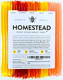 Homestead Flavored Honey Sticks, 5 Flavors Include Clover, Cinnamon, Orange, Lemon, Ginger, Pure American Honey Stix with Essential Oils for Taste (50 Pack)