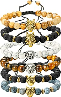 Finrezio 6PCS Mens Bead Bracelets Set Dragon/Lion/Panther...