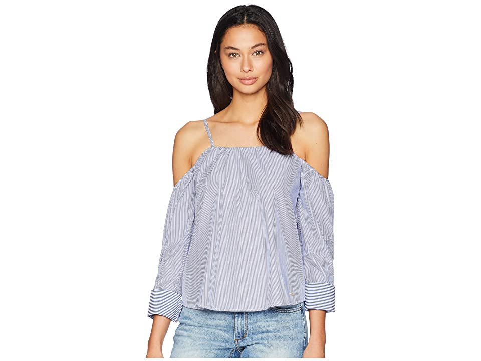 Bebe Long Sleeve Sweetheart Neck Shirting (Blue/White Micro) Women