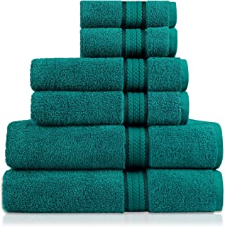 COTTON CRAFT Ultra Soft 6 Piece Towel Set Teal, Luxurious 100% Ringspun Cotton, Heavy..