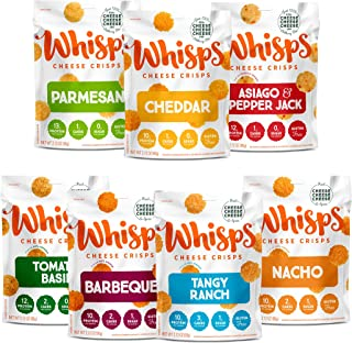 Whisps Cheese Crisps 7-Variety Pack | Parmesan, Cheddar, Asiago & Pepper Jack, Tomato Basil, Barbeque, Tangy Ranch, Nacho ...