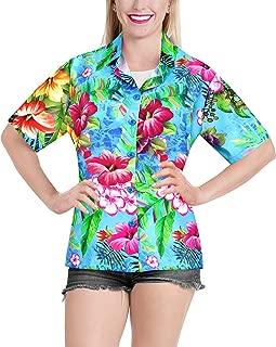 Women's Hawaiian Blouse Shirt Short Sleeves Nightwear Shirt Embroidered