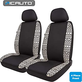 PIC AUTO Universal Low Back Car Seat Covers for Auto, Truck, Van, SUV - Airbag Compatible (4 Pieces, Black White)
