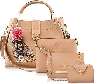 DYMEK PU Leather Latest Trendy Flower Printed Fashion Ladies Handbag With Sling Bag & Clutch Combo 5 pcs Purse Set