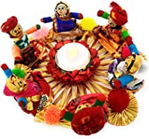 JH Gallery Handmade Metal Material Rajasthani Dolls Puppet Tealight Candle Holder, Multicolor (13 cm x 13 cm 6.5 cm,...