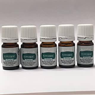 Vitality Peppermint Essential Oil 5 pk of 5 ml bottles by Young Livin Essential Oil 100% Pure Theraputic