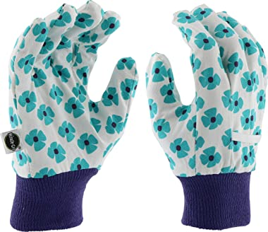 West Chester Miracle-Gro MG64001 Heavy Duty Canvas Chore Work Gloves: Aqua/Floral Print, Women's One Size Fits Most, 1 Pa