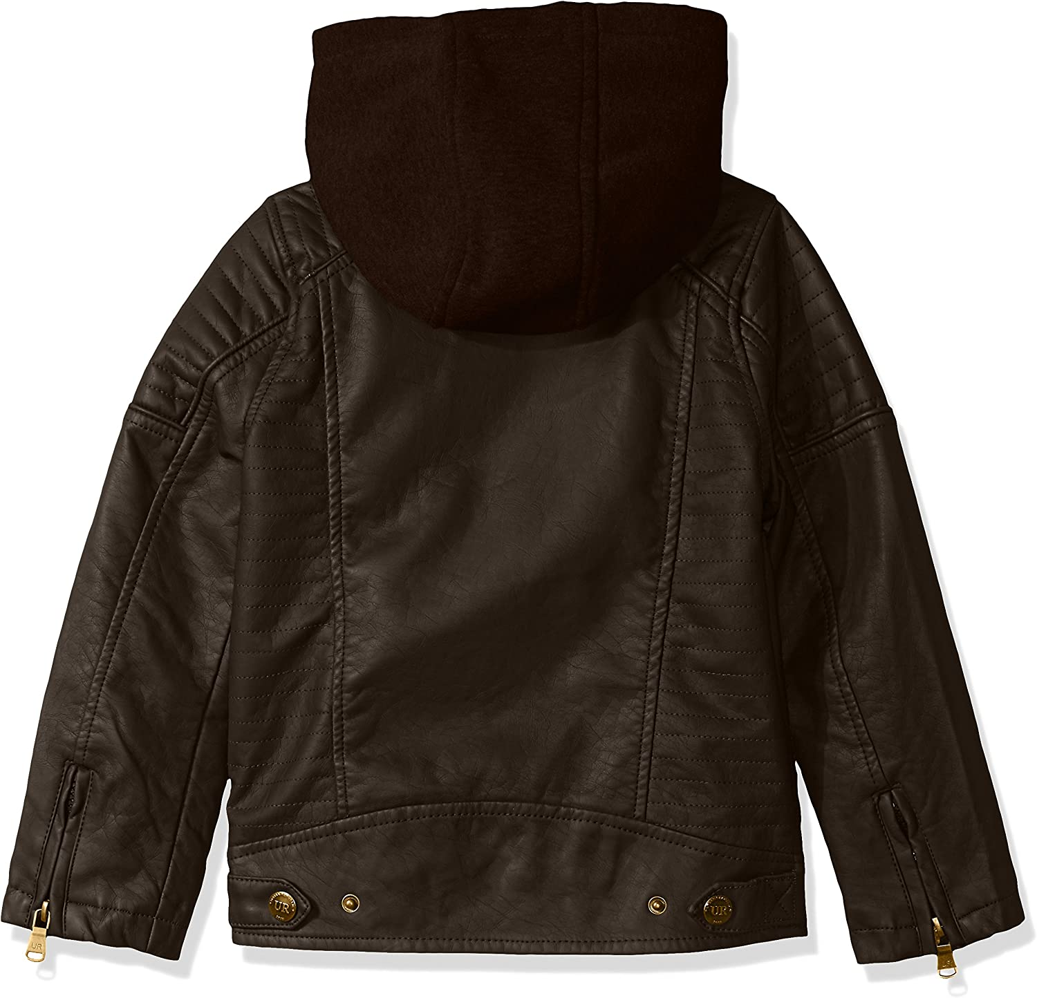 URBAN REPUBLIC boys Faux Leather Jacket With Fleece Lined Hood