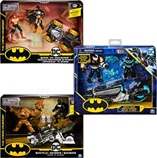 DC Comics BATMAN, Batcycle Vehicle with Exclusive BATMAN and CLAYFACE 4-Inch Action Figures (Styles Vary)