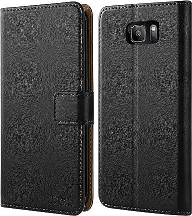 HOOMIL Galaxy S7 Edge Hülle, Handyhülle Samsung Galaxy S7 Edge Tasche Leder Flip Case Etui Brieftasche Schutzhülle für Samsung S7 Edge Cover - Schwarz (H3026)