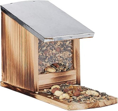 Relaxdays, Mangeoire en bois, toit en métal étanche, à poser, Hutte pour écureuil, flammé, marron