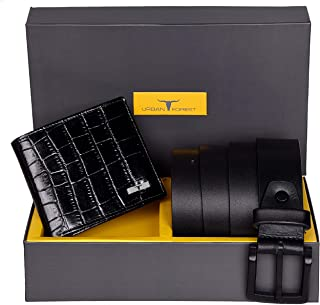 Urban Forest Drew Black RFID Blocking Croco Print Leather Wallet & Casual Black Leather Belt Combo Gift Set for Men