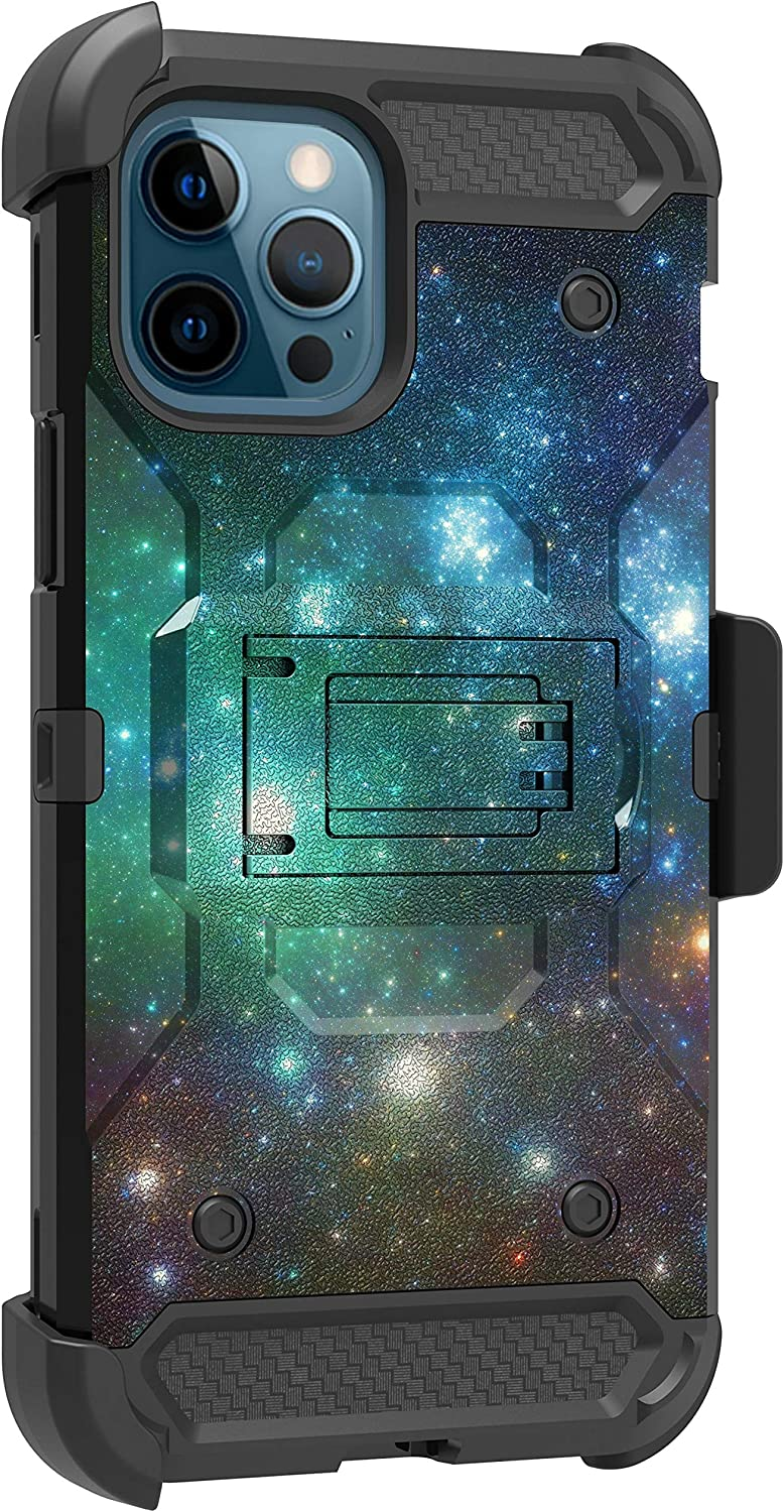 MINITURTLE Compatible with Apple iPhone 12 PRO MAX (6.7) Triple Layer Combo 360 Degree Rotating Belt Clip Case [Max Guard] - Blue Green Galaxy