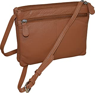 Pielino Women's Genuine Leather Double Zipper Crossbody Bag W/RFID Protection (Camel)