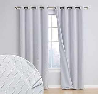HLC.ME Siena - Cortina de ventana con forro aislante térmico 100% opaco, longitud del piso, paneles con ojales para sala d...