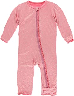 KicKee Pants Print Muffin Ruffle Coverall with Zipper in Desert Rose Gold Leaf, 3T
