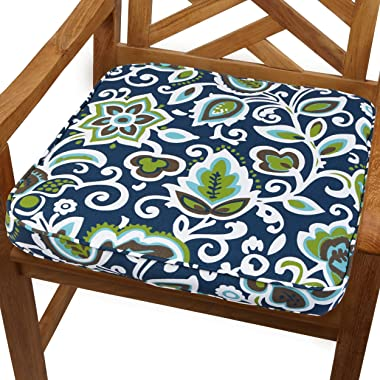 "Mozaic AMCS102061 Premier Prints Indoor/Outdoor Corded Cushion, 19"", Navy & Green Floral"