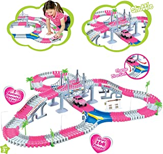 Liberty Imports 168 Pieces Create a Road Super Snap Speedway - Magic Journey Flexible Track Set - Ideal Gift Toy for Toddlers, Kids, Boys, and Girls (Princess Pink)