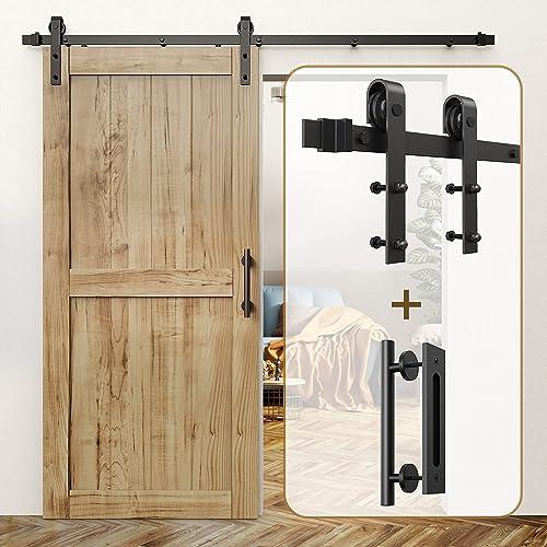 """high quality ROOMTEC Sliding Barn Door Hardware Kit 6ft & 12"""" discount Sliding Barn Door Handle outlet online sale Black outlet online sale"""
