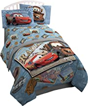 Jay Franco Disney/Pixar Cars Tune Up Blue/Gray 3 Piece Twin Sheet Set with Lightning McQueen & Mater (Official Disney/Pixar Product)
