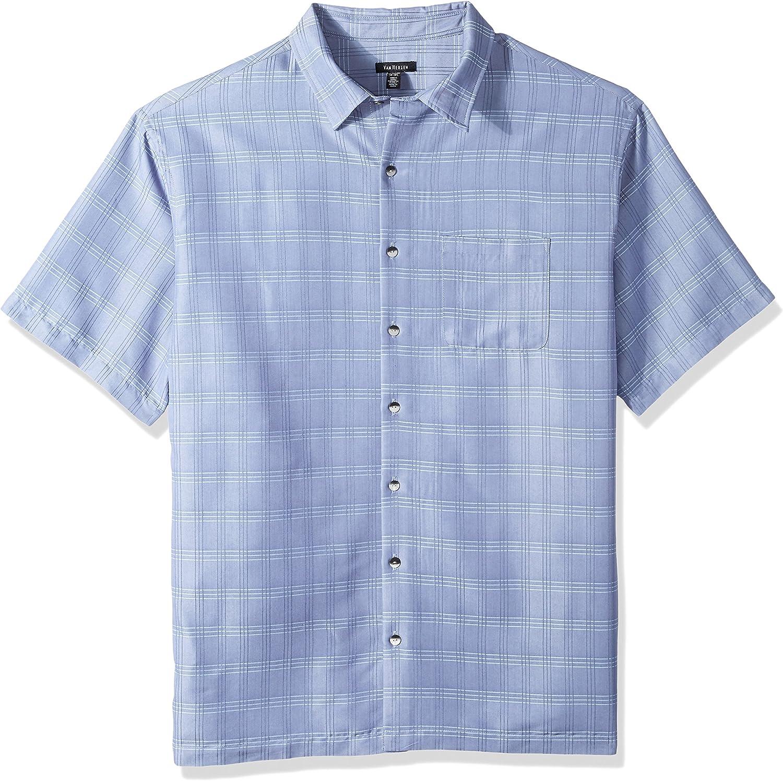Van Heusen Men's Big and Tall Air Short Sleeve Button Down Poly Rayon Windowpane Shirt