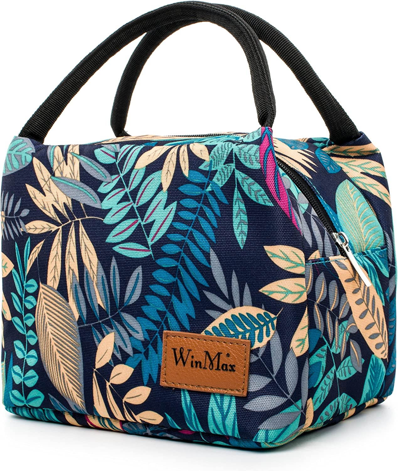 Insulated Lunch Box Cooler Bag Lunch Bags Reusable Lunch Tote for Working Women/Girls/Kids(Green leafes)