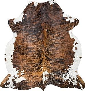 Brown Brindle Cowhide Rug, Premium Quality Natural Leather Hide, Area Rug (6x7ft)