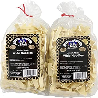 Amish Wedding Foods Wide Noodles 16 Ounce Bags No Preservatives (Pack of 2)