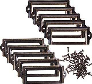 BCP 10pcs 83 x 33mm Bronze Color Metal Office File Cabinet Shelves Drawer Name Card Label Holder Frames with Screws