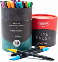 DACO Dual Tip Fine Brush Markers, 60 Colors, for Calligraphy, Bullet Journal Art, Adult Coloring Books, Drawing, Sketching, Planners, Doodles or Mandala