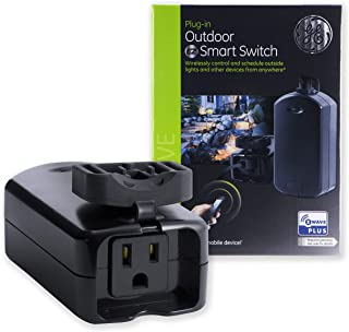 GE Enbrighten Z-Wave Plus Outdoor Smart Plug Switch, On/Off Outlet, Weather-Resistant, Built-in Repeater/Range Extender, Zwave Hub Required, Works w/ SmartThings, Wink, Alexa, 14284, Black (Renewed)