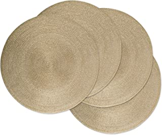 DII Round Braided & Woven, Indoor/Outdoor Placemat or Charger, Set of 6, Metallic Red Gold CAMZ37627