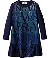 Versace Kids - Long Sleeve Dress Lettering Details (Toddler/Little Kids)