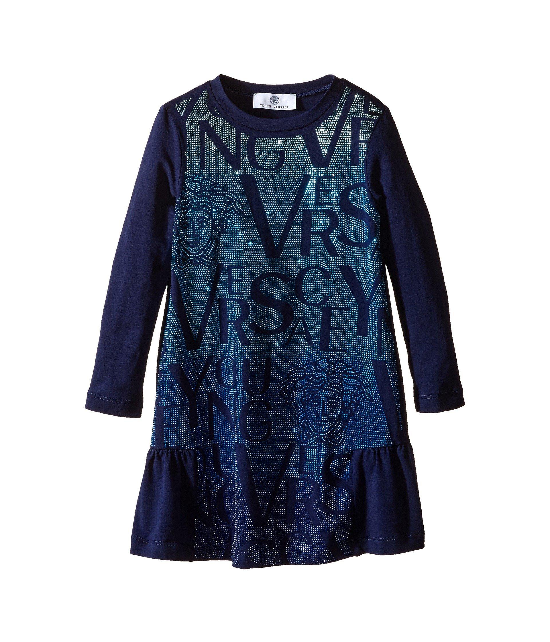Vestido para Niña Versace Kids Long Sleeve Dress Lettering Details (Toddler/Little Kids)  + Versace en VeoyCompro.net