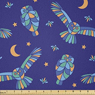 Lunarable Owl Fabric by The Yard, Stars Crescent Moon Polygonal Nocturnal Animals Flying at Midnight, Stretch Knit Fabric ...