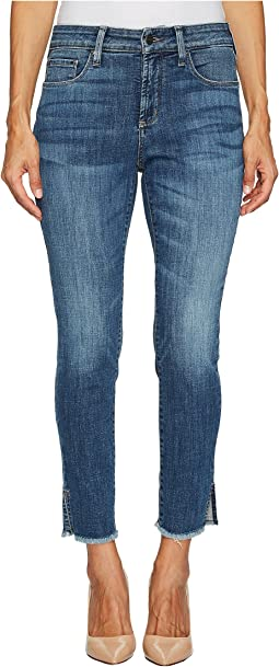 Petite Ami Skinny Ankle Jeans w/ Fray Side Slit in Crosshatch Denim in Newton