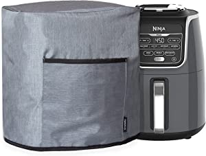 Crutello Air Fryer Cover with Storage Pockets Compatible with Ninja 5.5 Quart Air Fryer - Small Appliance Dust Cover Measuring 14
