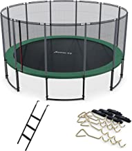 Ampel 24 Deluxe trampoline 490 cm met extern net, set met ladder & windbescherming, belastbaarheid 120 kg, net met 12 bekl...