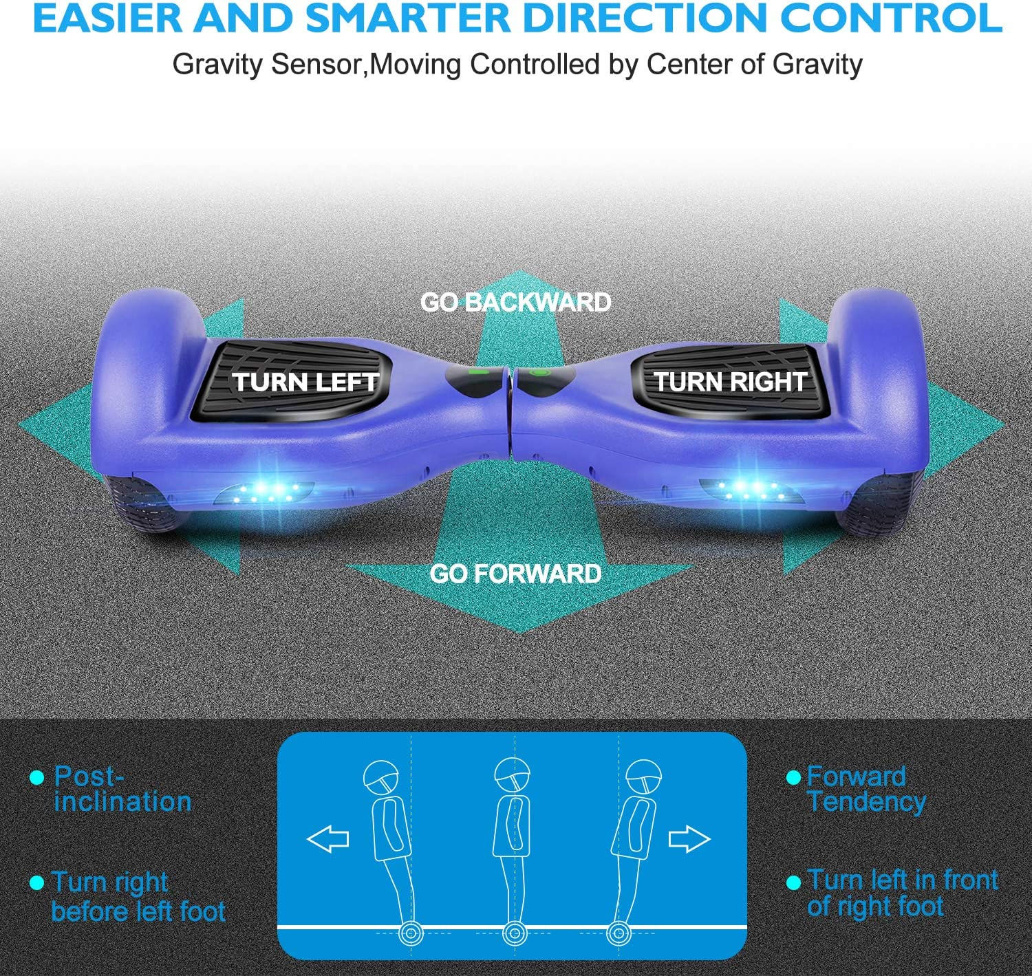 UNI-SUN Hoverboard Two-Wheel Self Balancing Hoverboard for Kids with LED Lights UL 2272 Certified