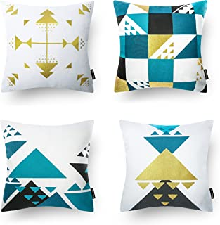 Phantoscope Set of 4 100% Cotton Blue Gilding Gold Geometric Decorative Throw Pillow Case Cushion Cover 18 x 18 inches 45 x 45 cm