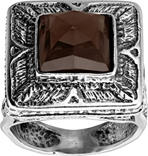 Sand Storm' 5 1/3 ct Natural Smokey Quartz Ring in Sterling Silver
