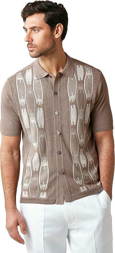 Mens Vintage Shirts – Casual, Dress, T-shirts, Polos EDITION S Men's Short Sleeve Knit Shirt- California Rockabilly Style: Neo Chain Jacquard Pattern $49.00 AT vintagedancer.com