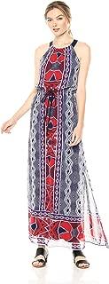 Nine West Women's Sleeveless Maxi Dress with Drawstring and Gathered Neck
