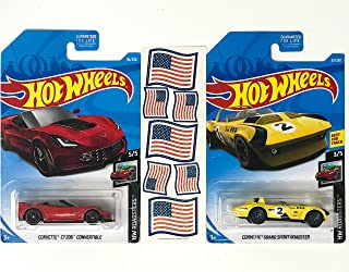 HW Corvette Hot Rods Red & Yellow Convertible Vehicle Bundle Plus American Flag Stickers